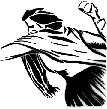 Stencil of a woman posed to throw a brick.