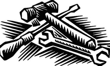 Black and white line image of a hammer, screwdriver, and wrench.
