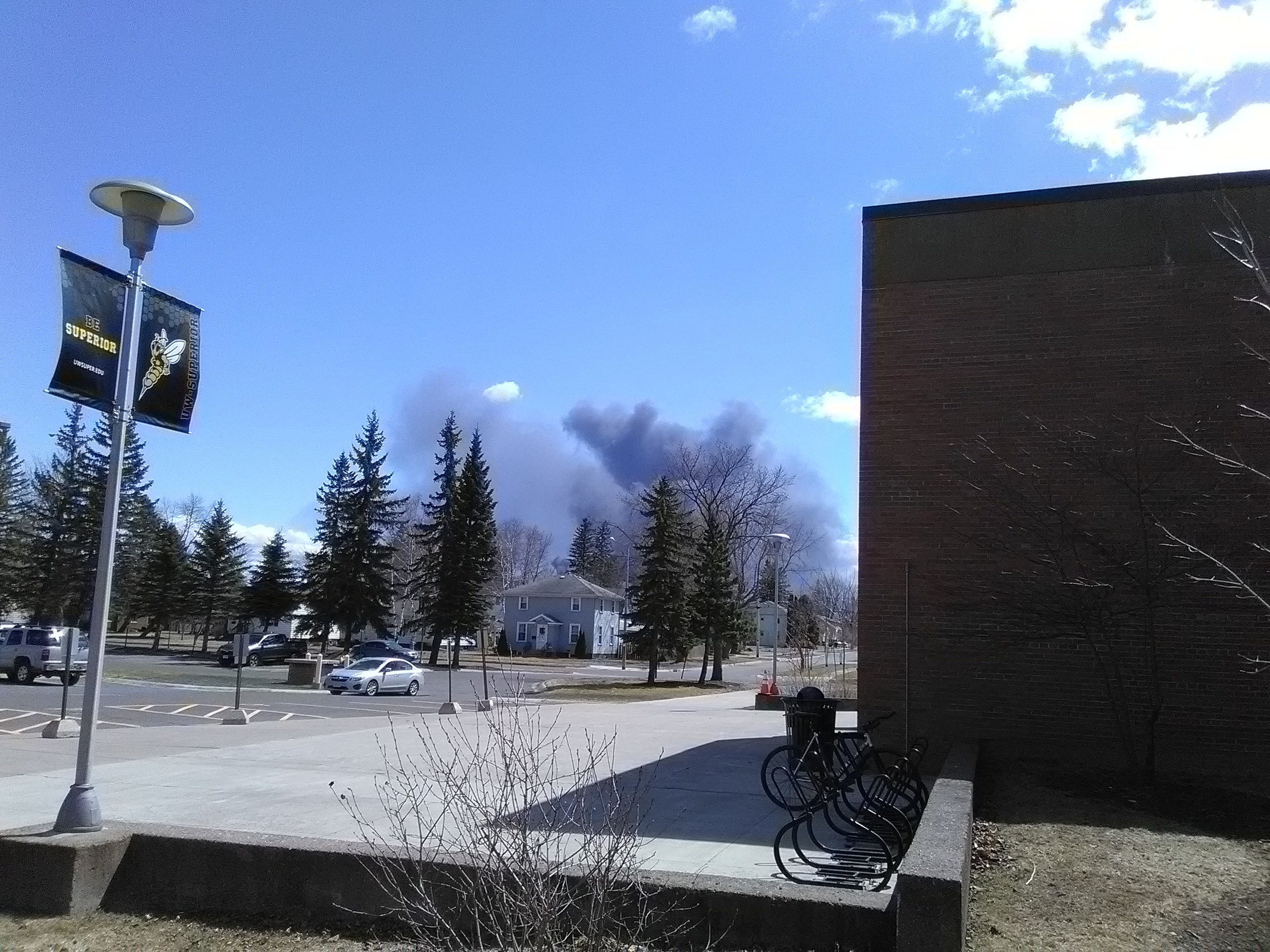 Husky refinery smoke in the distance