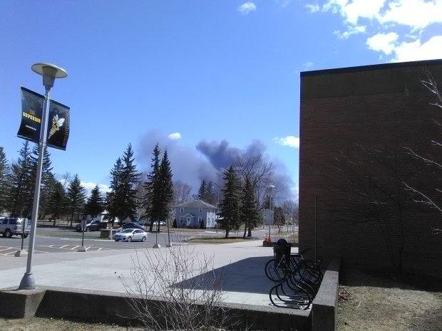 Husky refinery smoke in the distance