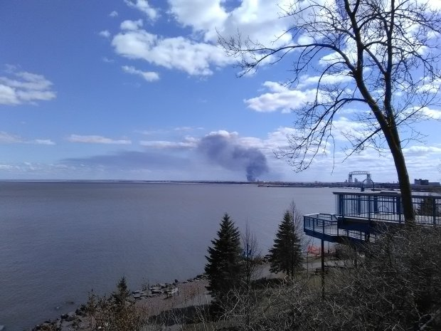 Refinery smoke over the water