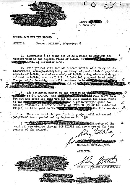 CIA document approving use of LSD through MKULTRA project with redactions