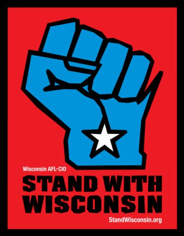 Clenched blue fist in the shape of the state of Wisconsin with the text Stand with Wisconsin at bottom.