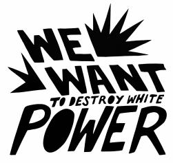 Black and white text that reads We Want to Destroy White Power