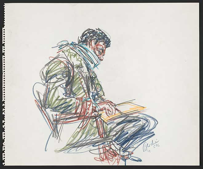 Color drawing of Bobby Seale, bound and gagged in a seat, pen and paper in hand.